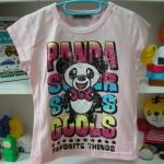 เสื้อยืดสีชมพูหวานปนเท่ห์ ลายแพนด้า size 110