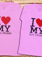 เสื้อคู่รัก  พิมลาย Girl &Boy Friend  น่าร๊าก.^ ^ Cotton100%