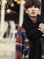 ผ้าพันคอกันหนาว ไหมพรม เกาหลี สีดำ เท่ๆ พร้อมส่ง