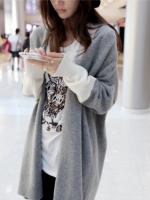 เสื้อไหมพรม คาร์ดิแกน ไหมเส้นเล็ก ทรงเก๋ๆ เพิ่มลูกเล่นแขนเสื้อสีขาว แบบน่ารักค่าา