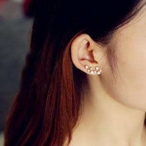 ตุ้มหู,ต่างหูชุบทองคำขาว18Kรูปเถาวัลย์คริสตัล