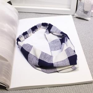 ผ้าคาดผมแฟชั่นโบฮีเมียนลายสก็อตสีขาวน้ำเงิน