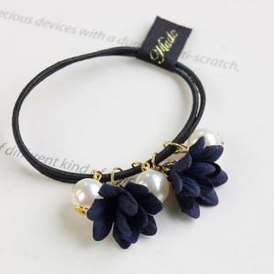 ยางมัดผมสไตล์เกาหลีดอกไม้สีน้ำเงินแต่งมุก
