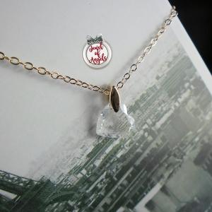 สร้อยคอชุบทองPinkGoldและทองคำขาว18Kจี้คริสตัลรูปหัวใจ
