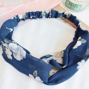 ผ้าคาดผมแฟชั่นโบฮีเมียนสีน้ำเงินลายดอกไม้