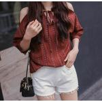 สีแดง : เสื้อแฟชั่น ผ้าใยสังเคราะห์เนื้อดี สกรีนลายในตัว โชว์ไหล่ น่ารักมากๆ