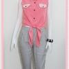 Sale!! blouse1694 เสื้อแฟชั่นผ้าไหมอิตาลี คอปกเชิ้ตลูกไม้ ผูกเอว สีชมพูอมส้ม รอบอก 36 นิ้ว