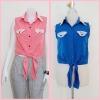 Sale!! blouse1690 เสื้อแฟชั่นผ้าไหมอิตาลี คอปกเชิ้ตลูกไม้ ผูกเอว สีน้ำเงิน รอบอก 36 นิ้ว