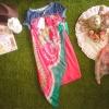 เดรสยีนส์ตัดต่อกระโปรงสีบานเย็นแต่งผ้าชีฟองลายวิเทจผูกข้าง