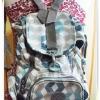 กระเป๋าสะพายหลัง Kipling มีลายโทนสีเทา KP302