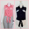 Sale!! blouse1691 เสื้อแฟชั่นผ้าไหมอิตาลี คอปกเชิ้ตลูกไม้ ผูกเอว สีดำ รอบอก 36 นิ้ว