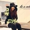 เสื้อกันหนาว มีฮู้ดหูหมี ver.1 สีดำ