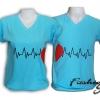 เสื้อยืดคู่รัก ลายคลื่นหัวใจ