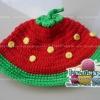หมวกถัก สตอเบอรี่สีแดง