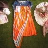 เดรสยีนส์ตัดต่อกระโปรงสีส้มแต่งผ้าชีฟองลายวิเทจผูกข้าง
