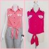 Sale!! blouse1692 เสื้อแฟชั่นผ้าไหมอิตาลี คอปกเชิ้ตลูกไม้ ผูกเอว สีชมพูช็อคกิ้งพิ้งค์ รอบอก 36 นิ้ว