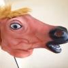 หน้ากากหัวม้าไทย สีน้ำตาล-แดง