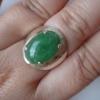 NJ01SR แหวนเงินแท้หัวแหวนหยกพพม่าแท้8กะรัตสีเขียวใบตองอ่อนเนื้อเทียนกึ่งลำใยสีธรรมชาติไซท์58