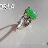 ODR14 แหวนเงิน92.5%ชุบทองคำขาวหัวแหวนหยกพม่าแท้ 2 ct. สั่งทำแบบอื่นๆได้คะ