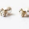พร้อมส่ง 4 pearl stud earrings เพชรและมุก