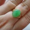 NJ02SRG แหวนเงินแท้ชุบทองไมครอนหัวแหวนหยกพพม่าแท้4กะรัตสีเขียวหวานๆดูดีคุ้มราคาไซท์59
