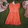 เดรสสีส้มแขนตุ๊กตา แต่งลูกไม้เป็นตัวVที่หน้าอก