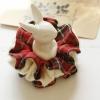 โดนัทรัดผมสไตล์ญี่ปุ่นผ้าลายสก็อตสีแดงและผ้าขนนิ่มๆสีขาว