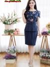 เดรสผ้าไหมอิตาลี่ลายดอกไม้ + กระโปรงโอซาก้า ซิปซ้อนด้านหลัง(ซับในไฮเกรดทั้งชุด)