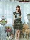 Newเดรสผ้าลายไทย ผ้าไหมแต่งกั้กลายไทยโบว์ที่อก(มีซับในไฮเกรดทั้งตัวค่ะ)