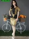 เดรสผ้าลายไทย + แต่งระบายเอวข้าง (ซับในไฮเกรดทั้งชุด)