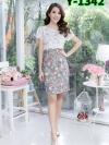 เดรสผ้าแคนวาสลายดอก + คลุมผ้าลูกไม้นิ่มขายดี!! (ซับในไฮเกรดทั้งชุด)