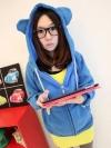 สีฟ้า เสื้อกันหนาวฮู้ดดี้ แฟชั่นเกาหลี หูหมี น่ารัก