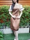 เดรสผ้าไหมลายไทยรวยเรียบหรู + แต่งลูกไม้ที่แขน ซิปซ้อนหลัง(ซับในไฮเกรดทั้งชุด)