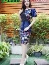 เดรสผ้าเกาหลีลายดอกสวยเริ่ดๆ + แต่งกั้กหน้าอก (ซับในไฮเกรดทั้งชุด)