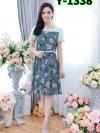 เดรสผ้าบับเบิลลายดอก + แต่งแขนโอซาก้ากระโปรงทวิส (ซับในไฮเกรดทั้งชุด)