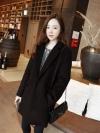 เสื้อโค้ทกันหนาว สไตล์เกาหลี ทรงสวย Classic ผ้าวูลเนื้อดี บุซับในกันลม ใส่แบบตั้งปกขึ้นก็เก๋ สีดำ พร้อมส่ง