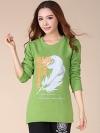 เสื้อผ้าแฟชั่นผู้หญิง Wide Songane thick velvet feather prints T-shirts
