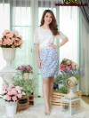 New ชุดเดรสผ้าลูกไม้ กระโปรงซีฟองเนื้อทรายลายดอกสวยมาก (ซับไฮเกรดทั้งชุด)