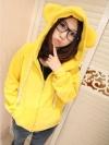 สีเหลือง เสื้อกันหนาวฮู้ดดี้ แฟชั่นเกาหลี หูหมี น่ารัก