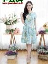 เดรสทรงซาร่าผ้ามิลินลายดอก + แถมผ้าคาดเอว ซิปซ้อนด้านหลัง(ซับในไฮเกรดทั้งชุด)