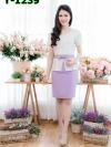 เดรสผ้าปักลายดอกแต่งระบายเอว + กระโปรงผ้าโอซาก้า (ซับในไฮเกรดทั้งชุด)