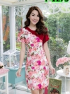 เดรสผ้าไหมลายดอก + แต่งสลับผ้าฮานาโก๊ะ (ซับในไฮเกรดทั้งชุด)