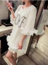เสื้อตัวยาว/ mini dress สุดน่ารัก ผ้า cotton เนื้อนุ่มแต่งระบายหวานๆ