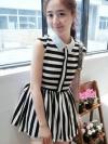 เสื้อผ้าแฟชั่นผู้หญิง Striped fluffy hem dress lapel temperament