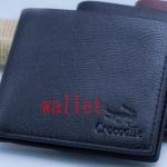 กระเป๋าสตางค์ผู้ชาย  หนังแท้ ใบสั้น Crocodile สีดำ มีช่องใส่เหรียญด้านใน no 384865
