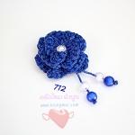 ดอกไม้เชือกร่ม ถักโครเชต์ #712 (สีน้ำเงิน ดิ้นเงิน)