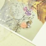 สร้อยคอแฟชั่นชุบทอง18Kจี้ดอกกุหลาบแต่งคริสตัล