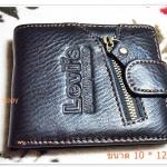 กระเป๋าสตางค์ levis หนังแท้ สีดำแต่งซิป L905