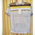 เสื้อโปโลผู้ชาย สีพื้น ลายขวาง คอปกน้ำตาล ลายน้ำตาลเข้มสลับเหลือง pl42013