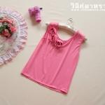 เสื้อแขนกุดสีชทพูแต่งดอกกุหลาบตรงคอ